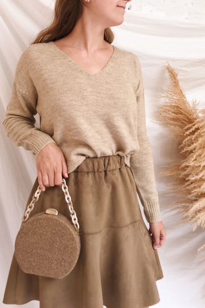 Mikstat Beige V-Neck Knit Sweater | La petite garçonne on model
