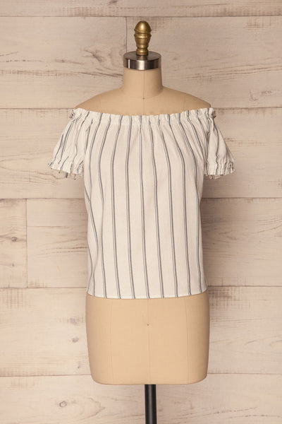 Mikulec White & Black Striped Off-Shoulder Top | La Petite Garçonne 1