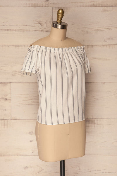 Mikulec White & Black Striped Off-Shoulder Top | La Petite Garçonne 4