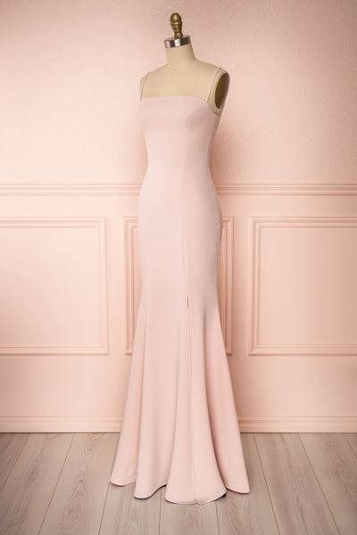 Milena Blush Light Pink Mermaid Maxi Dress | Boudoir 1861 side view
