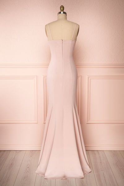 Milena Blush Light Pink Mermaid Maxi Dress | Boudoir 1861 back view