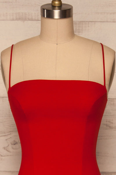 Milena Red Mermaid Gown | Robe front close up | La Petite Garçonne Chpt. 2