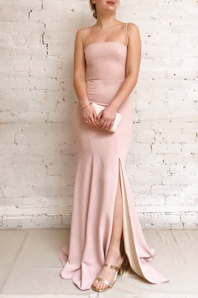 Milena Blush Light Pink Mermaid Maxi Dress | Boudoir 1861 model look