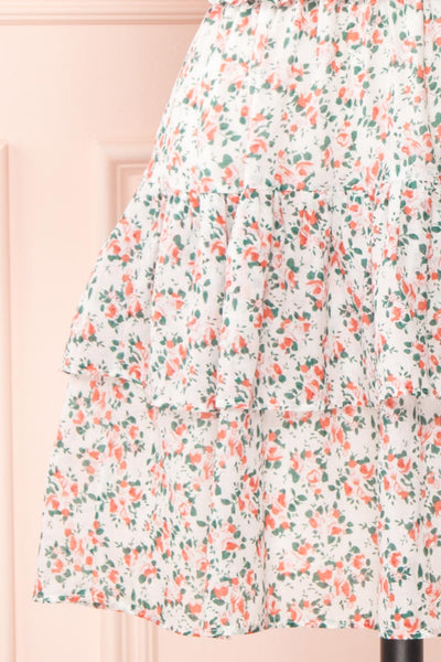 Milhoja White Floral Ruffle Short Dress | Boutique 1861 skirt