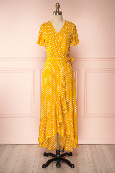 Millicent Yellow & White Polka Dot Dress | Boutique 1861 front view