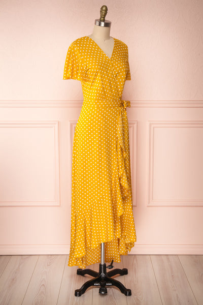 Millicent Yellow & White Polka Dot Dress | Boutique 1861 side view