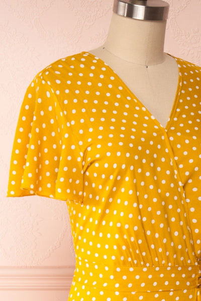 Millicent Yellow & White Polka Dot Dress | Boutique 1861 side close up