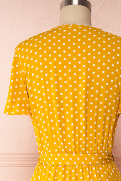 Millicent Yellow & White Polka Dot Dress | Boutique 1861 back view