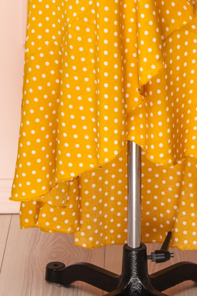 Millicent Yellow & White Polka Dot Dress | Boutique 1861 skirt