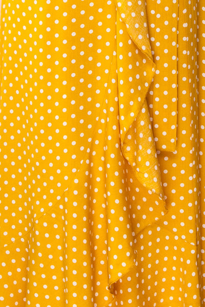 Millicent Yellow & White Polka Dot Dress | Boutique 1861 fabric