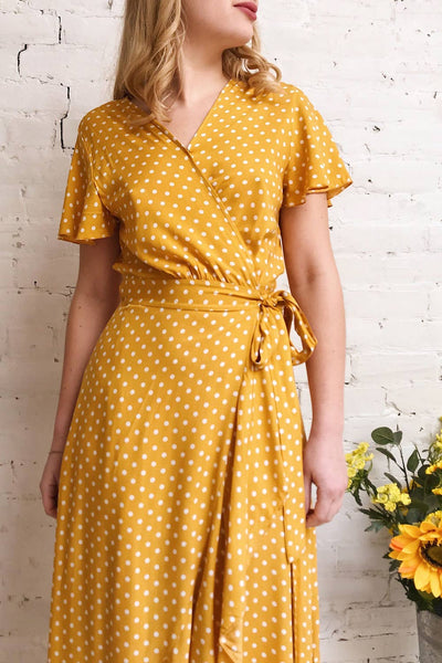 Millicent Yellow & White Polka Dot Dress | Boutique 1861 on model