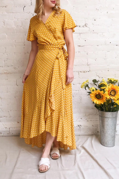 Millicent Yellow & White Polka Dot Dress | Boutique 1861 model look