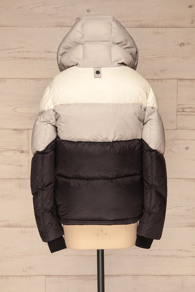 Milvina Black & White Coat | Manteau back view hood up | La Petite Garçonne