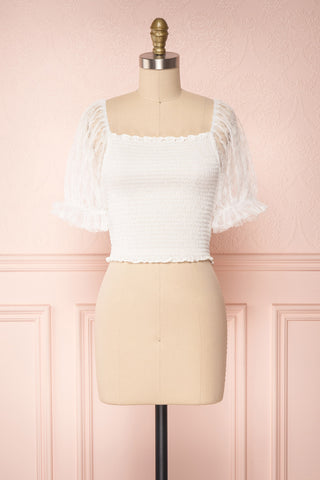 Mily White Ruched Crop Top with Puff Sleeves | Boutique 1861 1