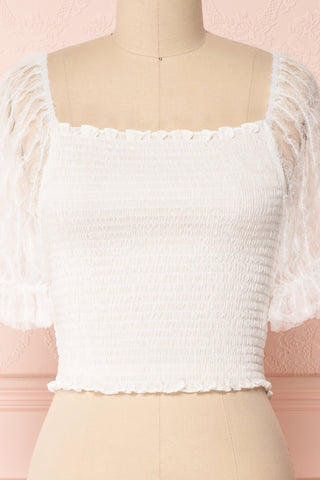 Mily White Ruched Crop Top with Puff Sleeves | Boutique 1861 2