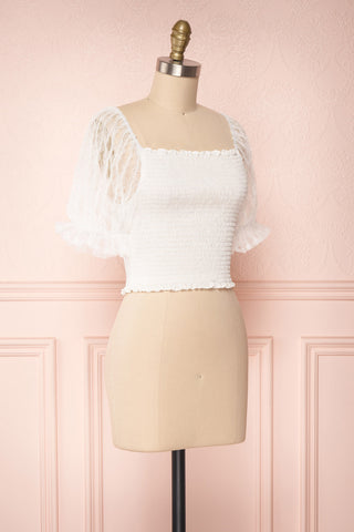 Mily White Ruched Crop Top with Puff Sleeves | Boutique 1861 3