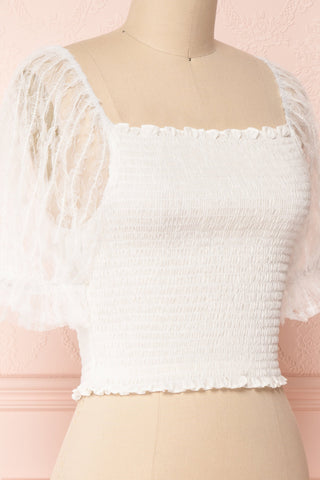 Mily White Ruched Crop Top with Puff Sleeves | Boutique 1861 4