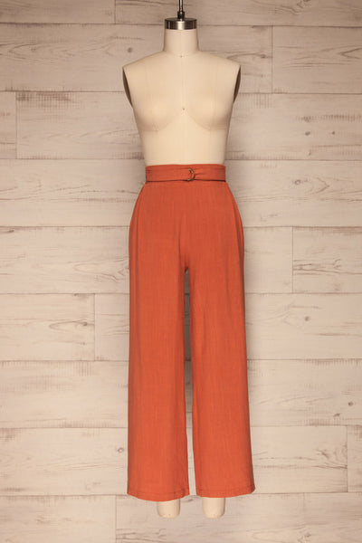 Mimi Palazzo Rust Orange Wide Leg Pants | La petite garçonne front view