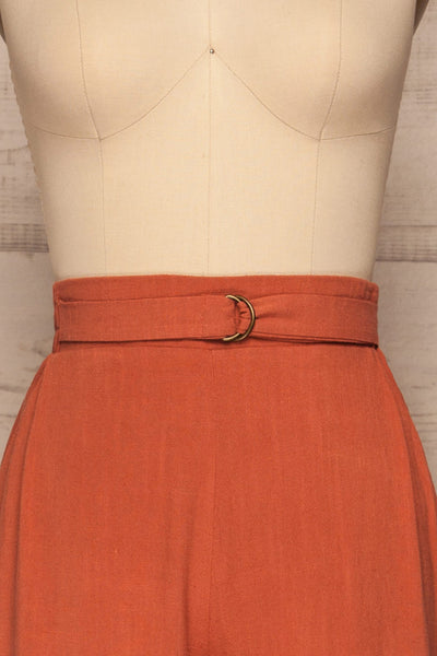 Mimi Palazzo Rust Orange Wide Leg Pants | La petite garçonne front close up