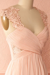 Mina Pink Pleated Bodice Lace and Chiffon Gown | Boudoir 1861