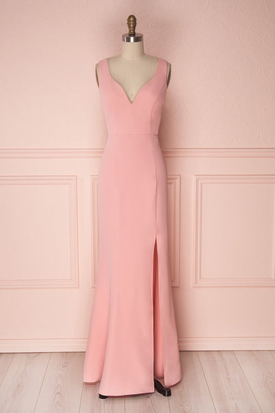 Minseo Pink V-Neck Fitted Maxi Mermaid Dress | Boudoir 1861