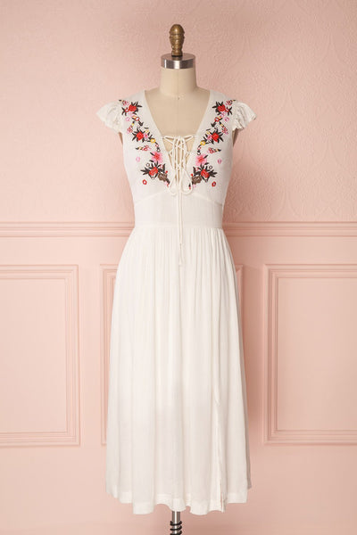 Minthu Ivory Midi Dress with Floral Embroidery | Boutique 1861