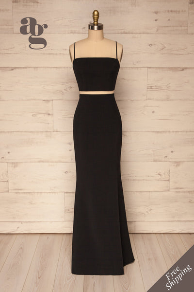 Mirissa Black Top and Skirt Prom Set | Boutique 1861 front view