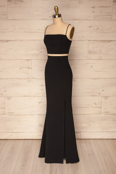 Mirissa Black Top and Skirt Prom Set | Boutique 1861 side view