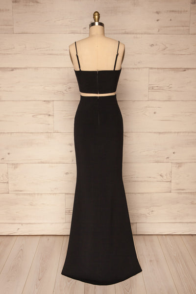Mirissa Black Top and Skirt Prom Set | Boutique 1861 back view