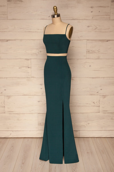 Mirissa Emerald Navy Top and Skirt Prom Set | Boutique 1861 side view