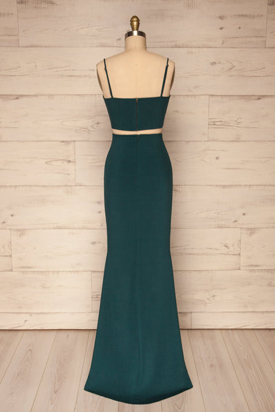 Mirissa Emerald Navy Top and Skirt Prom Set | Boutique 1861back view