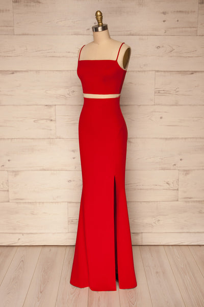 Mirissa Red Top and Skirt Prom Set | Boutique 1861 side view