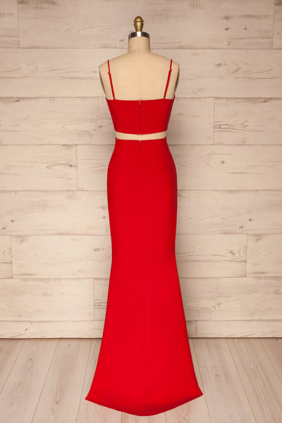 Mirissa Red Top and Skirt Prom Set | Boutique 1861 back view