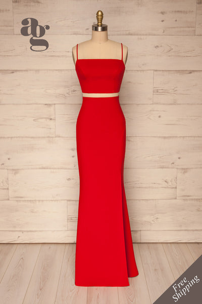 Mirissa Red Top and Skirt Prom Set | Boutique 1861 front view
