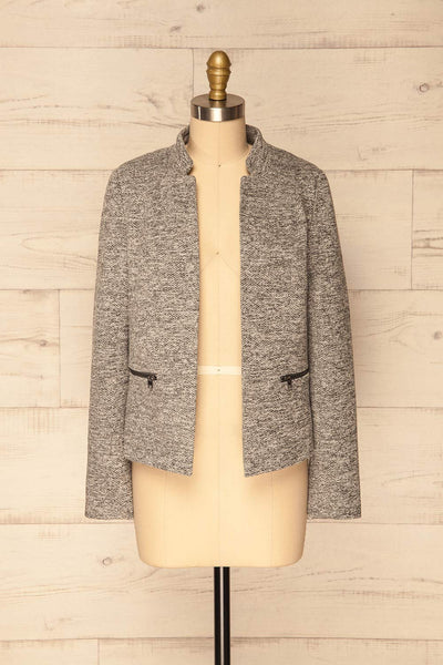 Mirkov Stone Light Grey No Closure Jacket | La Petite Garçonne