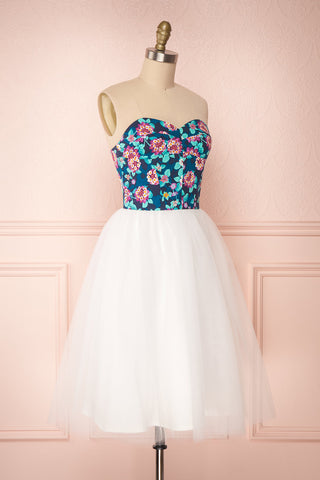 Mizuho Floral Printed White Tulle Bustier Dress | Boutique 1861