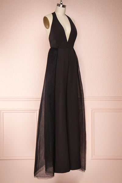 Mlynary Black Jumpsuit w/ Removable Tulle Panel side view jupe | Boutique 1861