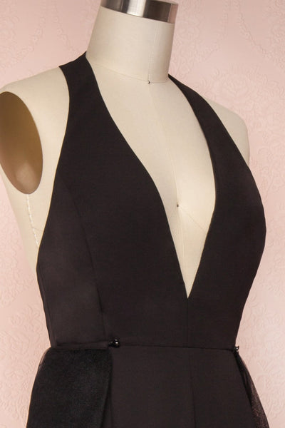 Mlynary Black Jumpsuit w/ Removable Tulle Panel side close up | Boutique 1861