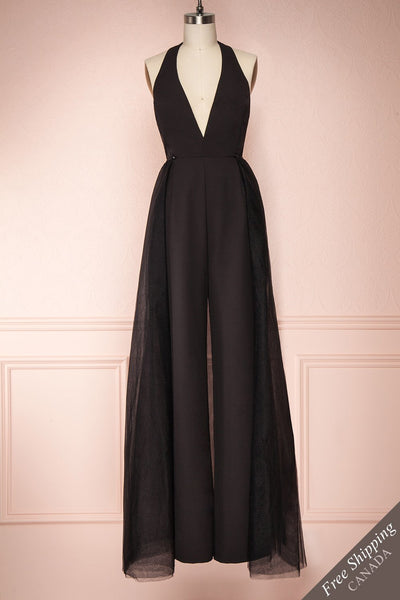 Mlynary Black Jumpsuit w/ Removable Tulle Panel front view FS | Boutique 1861