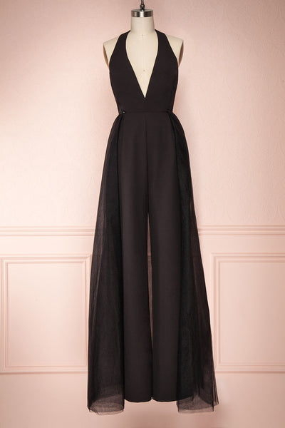 Mlynary Black Jumpsuit w/ Removable Tulle Panel | Boutique 1861