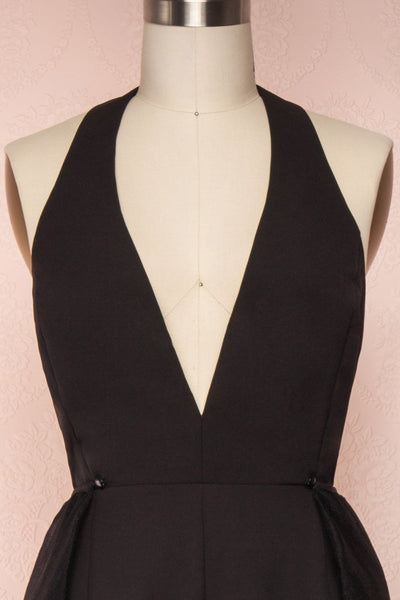 Mlynary Black Jumpsuit w/ Removable Tulle Panel front close up jupe | Boutique 1861