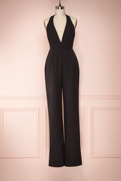 Mlynary Black Jumpsuit w/ Removable Tulle Panel front pant | Boutique 1861