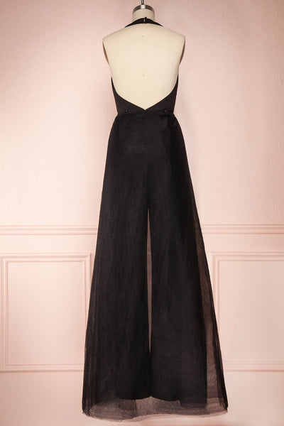 Mlynary Black Jumpsuit w/ Removable Tulle Panel back view jupe  | Boutique 1861