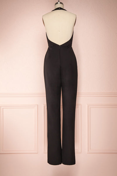 Mlynary Black Jumpsuit w/ Removable Tulle Panel back view pants | Boutique 1861