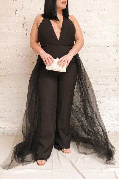 Mlynary Black Jumpsuit w/ Removable Tulle Panel | Boutique 1861 model look