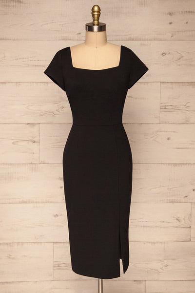 Moffat Black Fitted Midi Dress | La petite garçonne