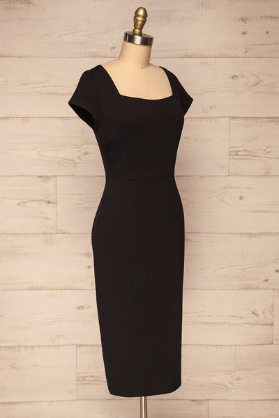 Moffat Black Fitted Midi Dress side view | La petite garçonne
