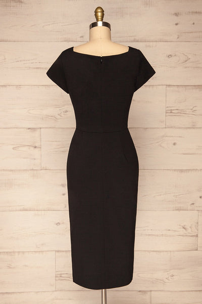 Moffat Black Fitted Midi Dress back view | La petite garçonne