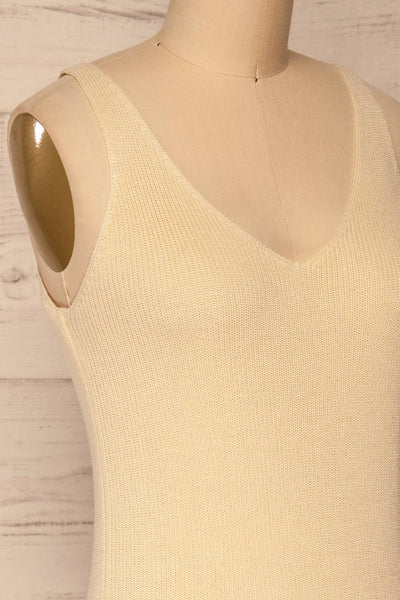 Moika Beige Knitted V-Neck Cami | La petite garçonne side close-up