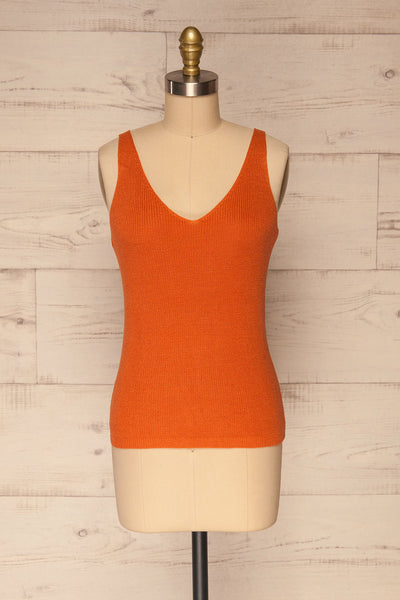 Moika Coral Knitted V-Neck Cami | La petite garçonne front view